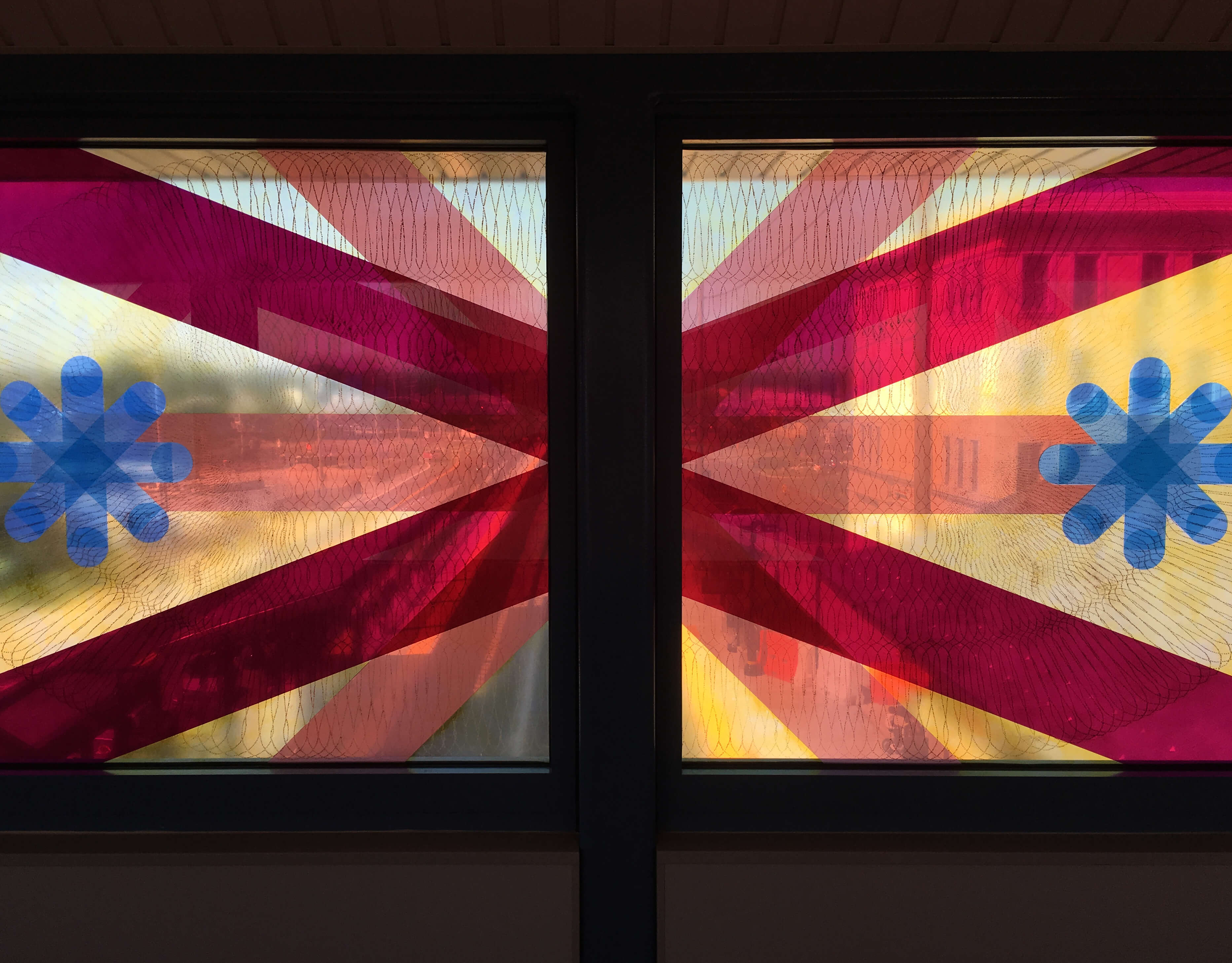 Artwork by Mary Judge &nbsp;&nbsp; <em>American Season</em><br />Glass art in paint and lamination by Mayer of Munich<br />Wyandanch Station, MTA Arts & Design and Long Island Rail Road